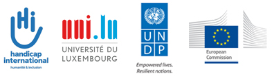 Logo Handicap International / Université du Luxembourg / UNDP / European COmmission