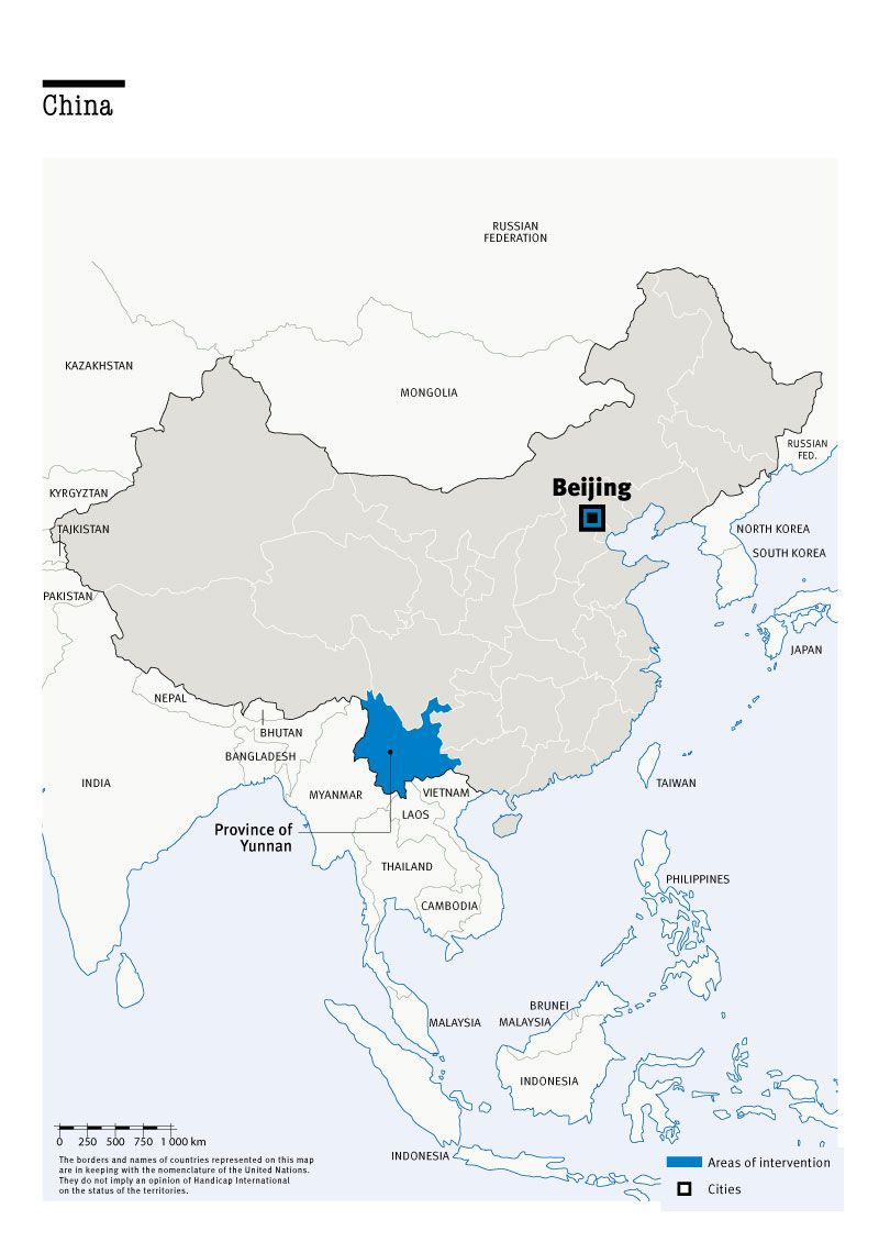 Carte des interventions de HI en Chine