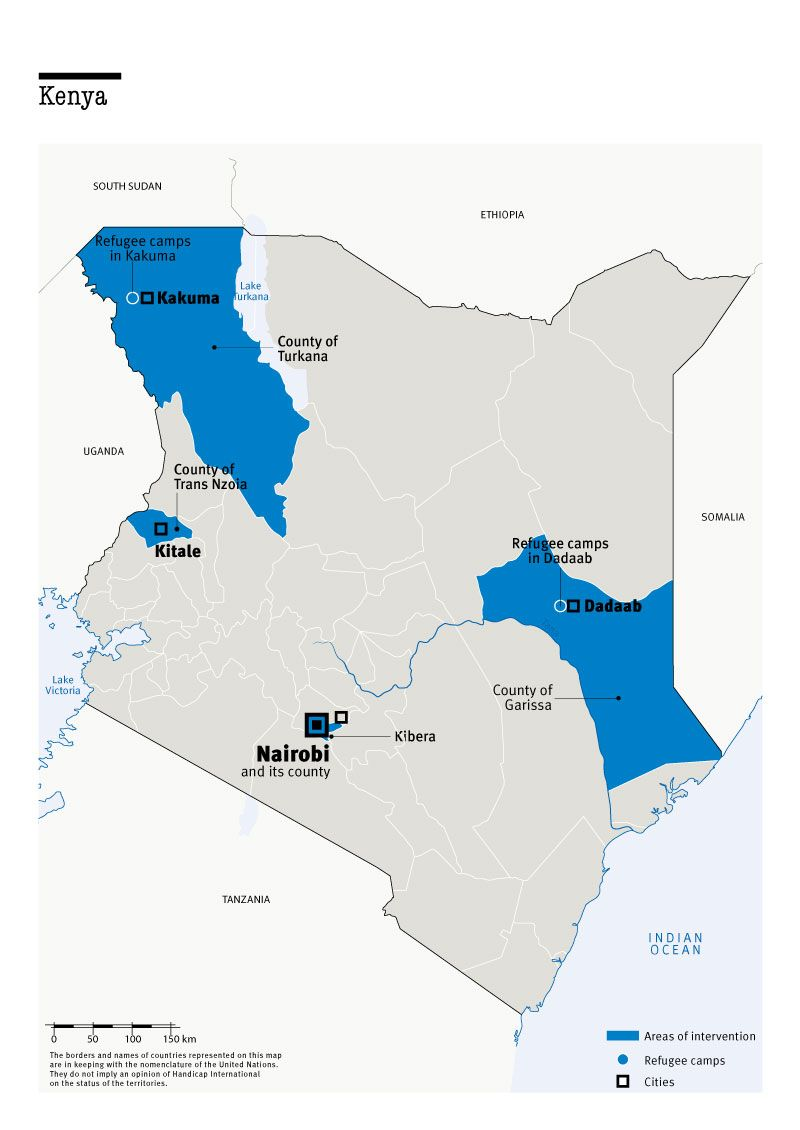 Carte des interventions de HI au Kenya