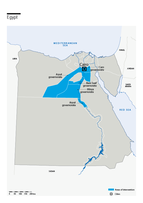 Carte des interventions de HI en Egypte