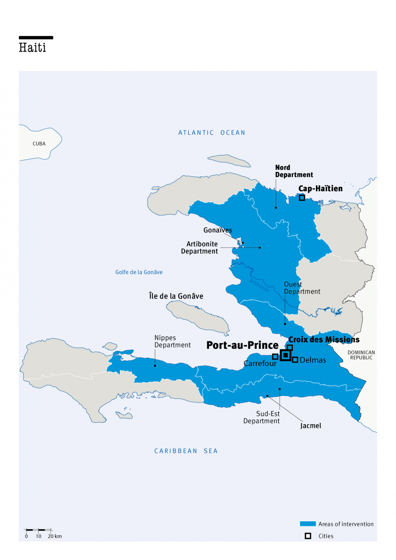 Carte des interventions de HI en Haiti