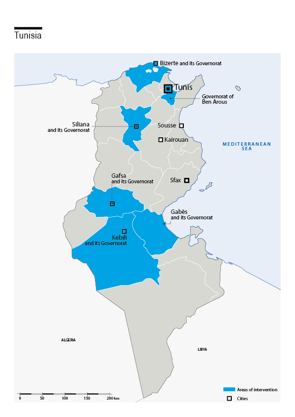 Carte des interventions de HI en Tunisie