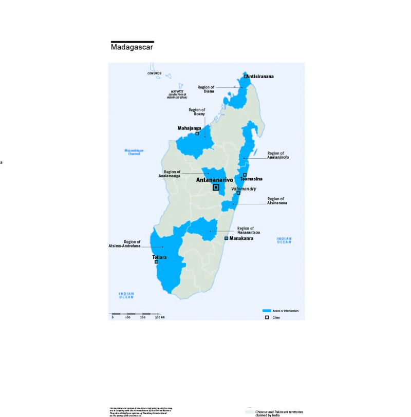 Carte des interventions de HI à Madagascar